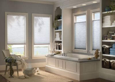 bathroom with cellular and pleated shades