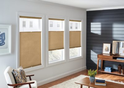 light brown cellular and pleated shades