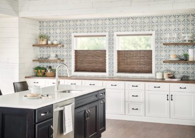 Kitchen with cellular and pleated shades