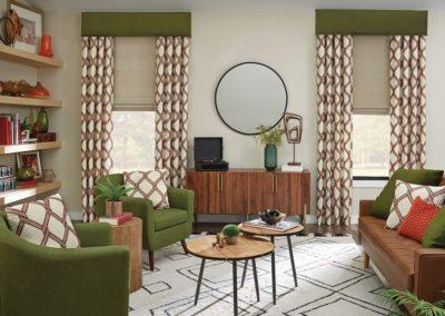modern drape treatment in retro living room