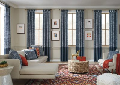 two tone blue curtains in living room