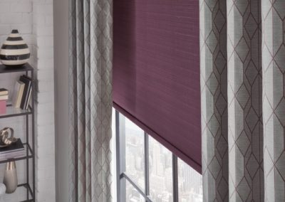 purple blinds with gray curtains