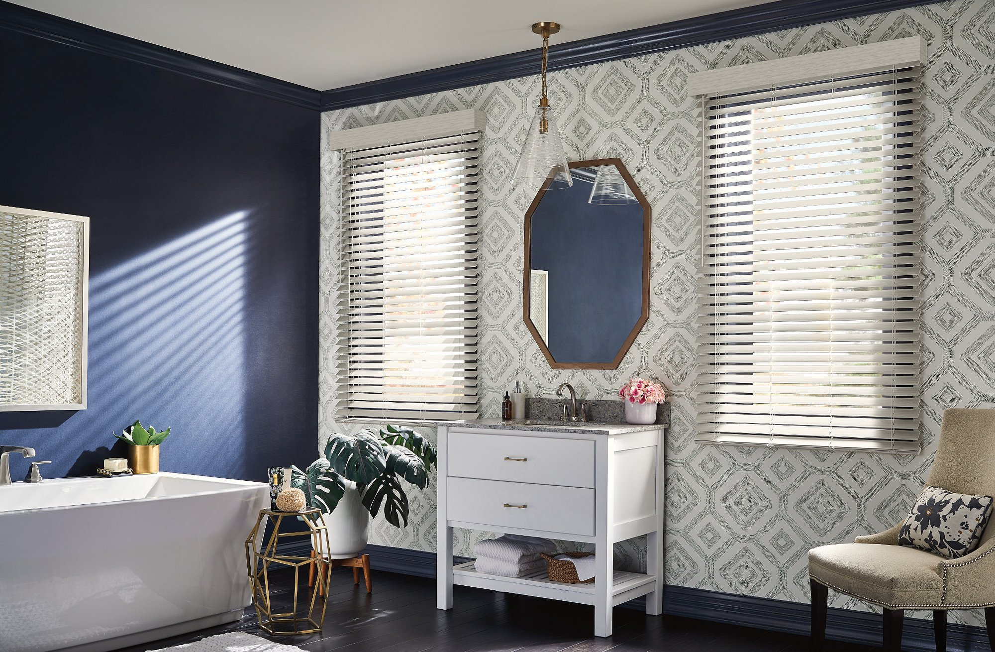 faux blinds on windows on wall with wallpaper and mirror