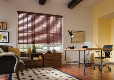 brown blinds on windows in living room