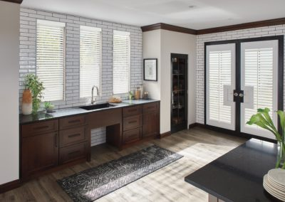 blinds on windows over sink in kitchen
