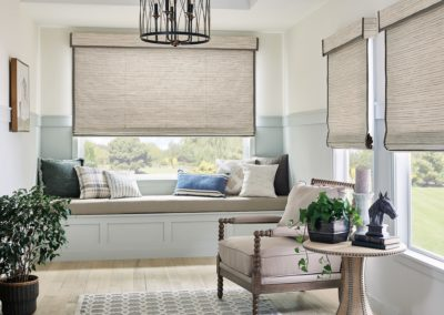 Window seat with natural woven shades