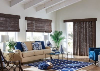 Living room with natural woven shades
