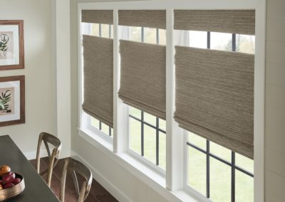 Breakfast room with natural woven shades