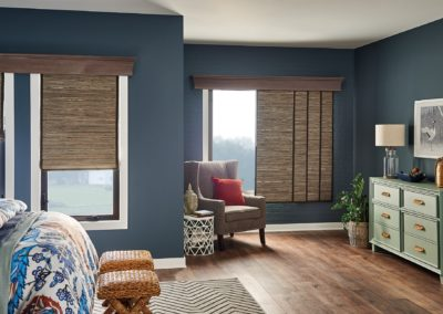 Bedroom with natural woven shades
