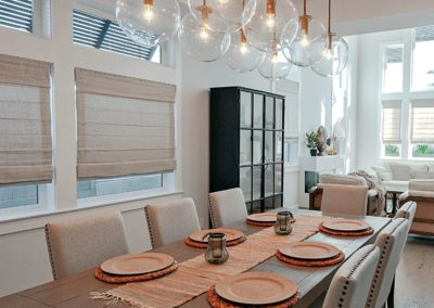 Dining room with roman shades