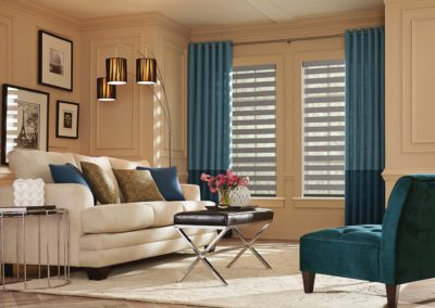 Family room with sheer shades