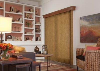 wood vertical blinds in living room