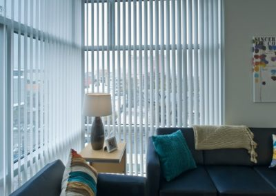 vertical blinds in living space